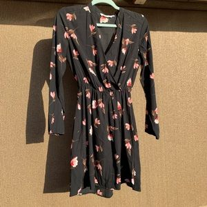 All in Favor Black Floral Dress Size Small